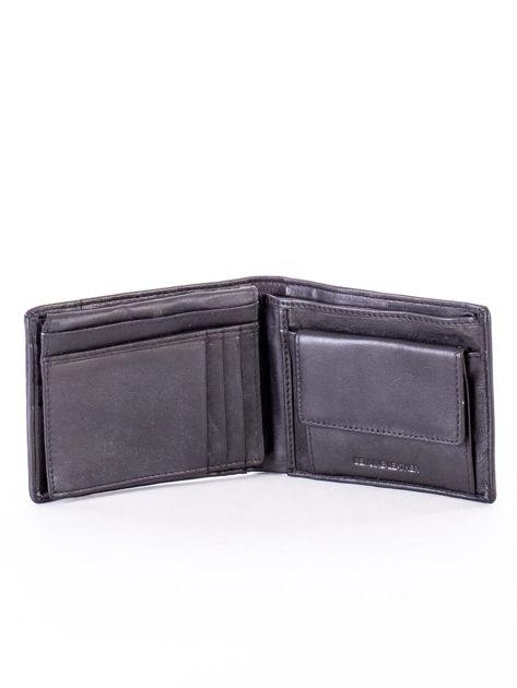Czarny skórzany portfel z rozcięciem                              zdj.                              4