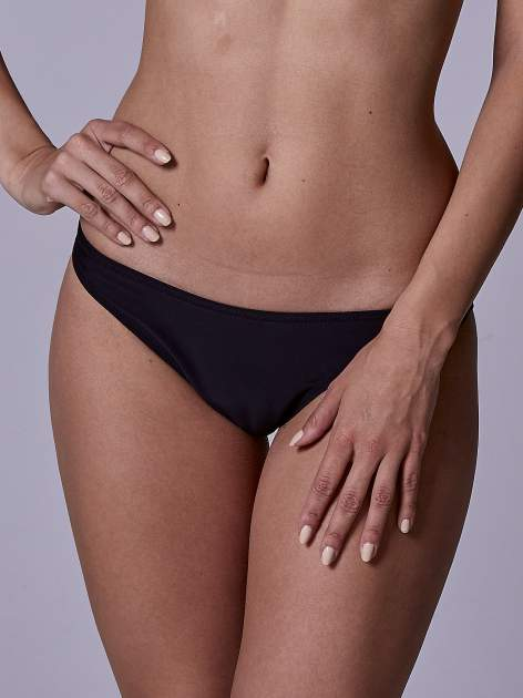 Czarny stanik od bikini wiązany na szyi z turkusowym akcentem                                  zdj.                                  5