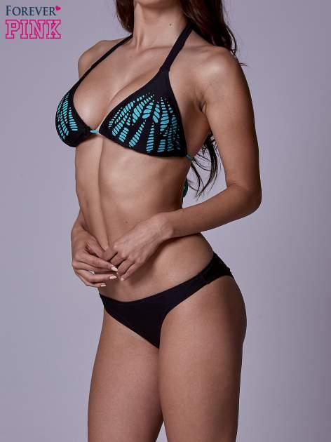 Czarny stanik od bikini wiązany na szyi z turkusowym akcentem                                  zdj.                                  2