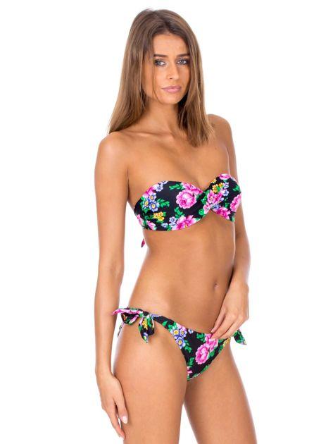 Czarny strój kąpielowy bikini w kwiaty                              zdj.                              4