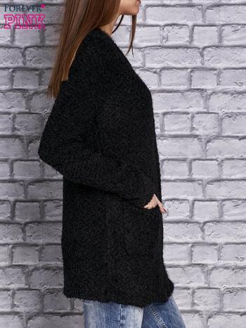 Czarny sweter long hair zapinany na suwak                                  zdj.                                  3