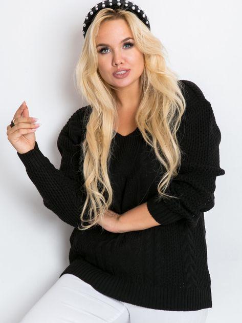 Czarny sweter plus size Latte