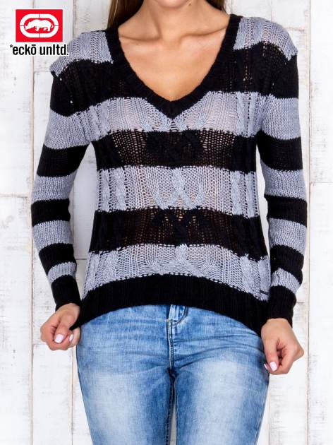 Czarny sweter w paski                                   zdj.                                  1