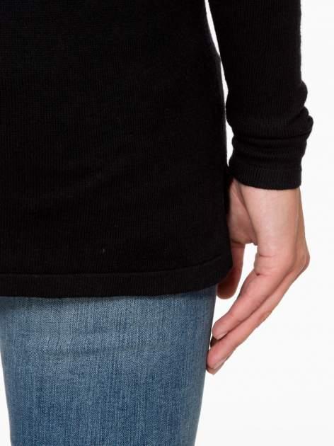 Czarny sweter z dłuższym tyłem i rozporkami po bokach                                  zdj.                                  10