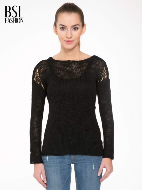 Czarny sweter z oczkami przy ramionach                                  zdj.                                  1