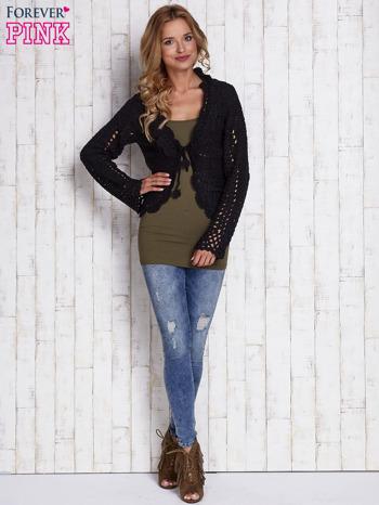 Czarny sweter z wiązaniem                                  zdj.                                  5