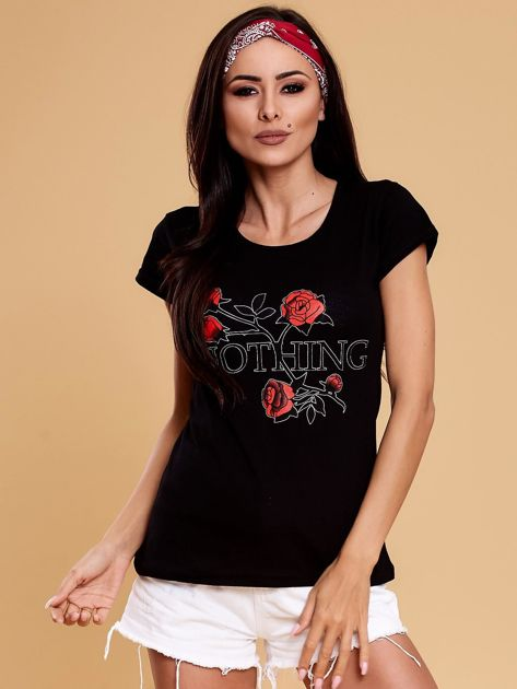 Czarny t-shirt damski NOTHING                              zdj.                              1