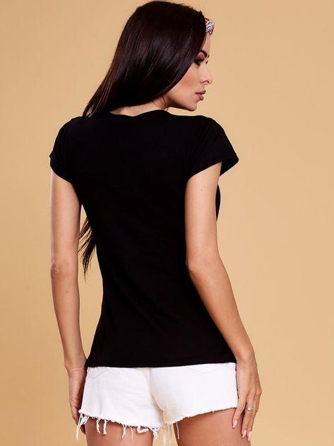 Czarny t-shirt damski NOTHING                              zdj.                              2