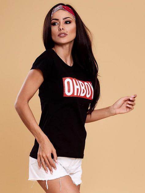 Czarny t-shirt damski OH BOY                              zdj.                              7