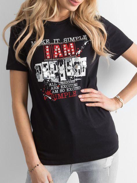 Czarny t-shirt damski z nadrukiem                              zdj.                              1