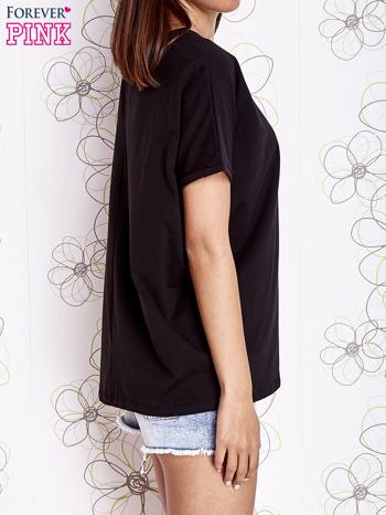 Czarny t-shirt oversize                                  zdj.                                  3