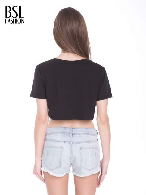 Czarny t-shirt typu crop top z nadrukiem UNITED STATES                                  zdj.                                  4
