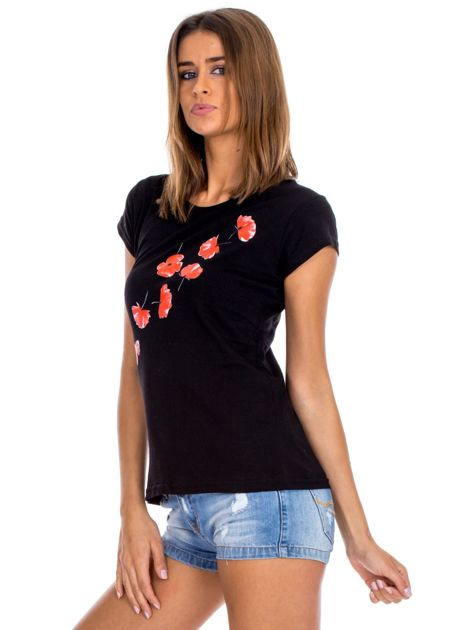 Czarny t-shirt z czerwonymi kwiatami                              zdj.                              6