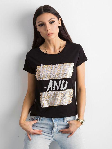Czarny t-shirt z diamencikami                              zdj.                              1