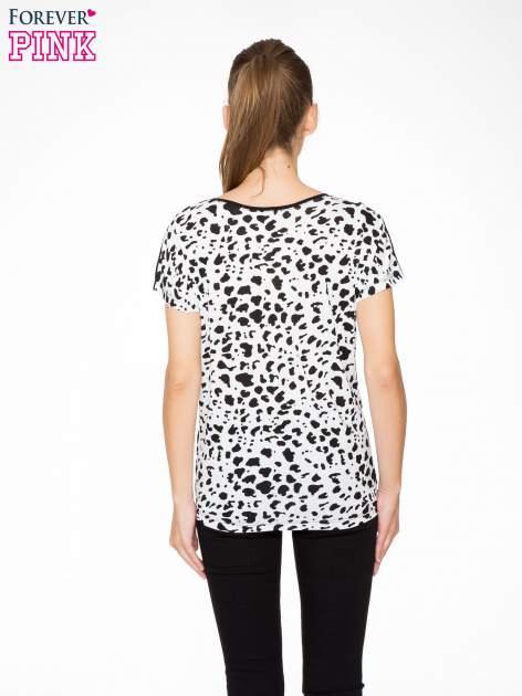 Czarny t-shirt z dżetami i tyłem w cętki                                  zdj.                                  4