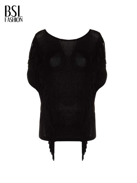 Czarny t-shirt z frędzlami i siateczkowym tyłem                                  zdj.                                  2
