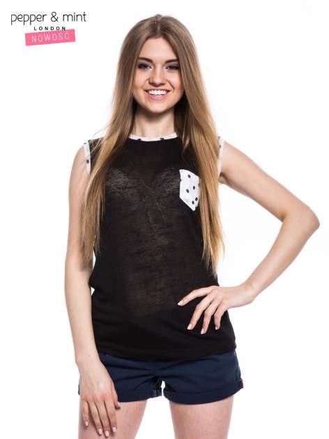 Czarny t-shirt z kieszonką i lamówką w kropki                                  zdj.                                  1
