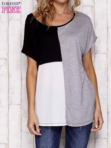 Czarny t-shirt z kolorowymi wstawkami                                  zdj.                                  3