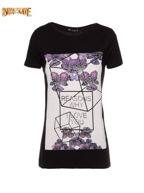 Czarny t-shirt z kwiatowym nadrukiem zdobionym dżetami                                  zdj.                                  1
