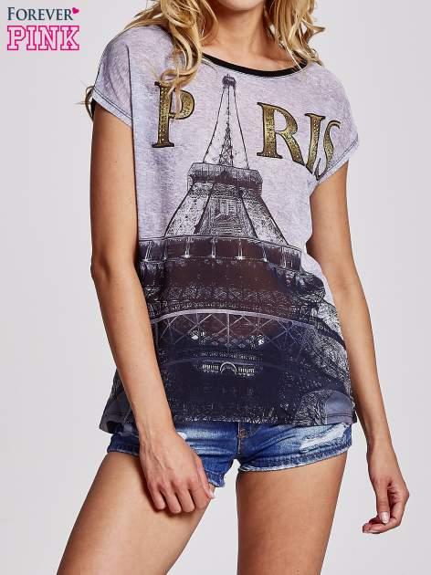 Czarny t-shirt z motywem Wieży Eiffla