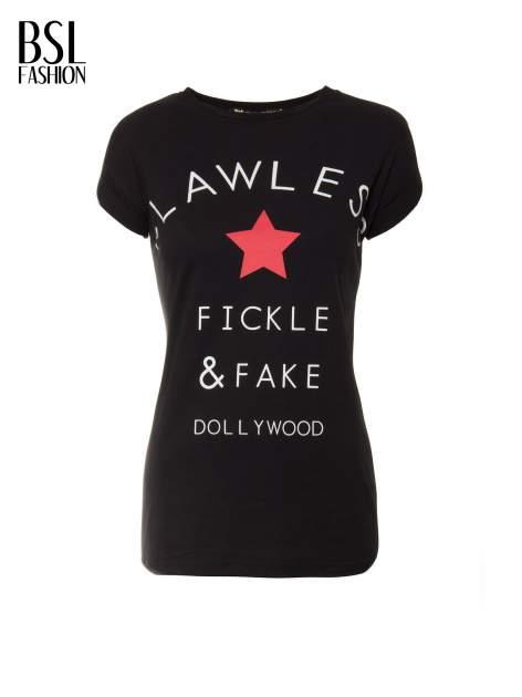 Czarny t-shirt z nadrukiem DOLLYWOOD                                  zdj.                                  2