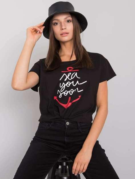Czarny t-shirt z nadrukiem Silva