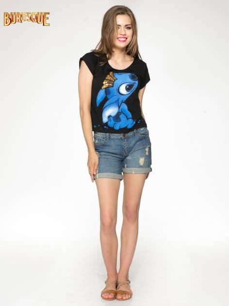 Czarny t-shirt z nadrukiem Stich                                  zdj.                                  2
