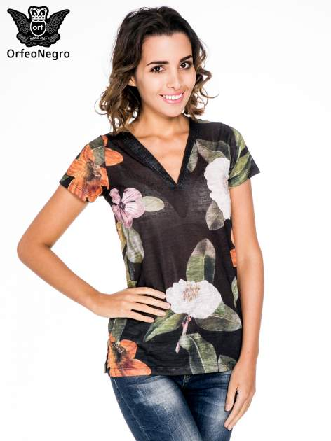 Czarny t-shirt z nadrukiem all over floral print                                  zdj.                                  1