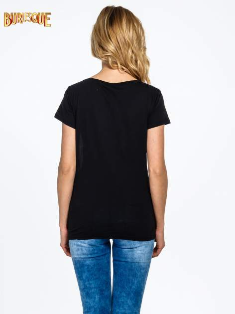 Czarny t-shirt z nadrukiem kwiatowym i napisem NEW YORK                                  zdj.                                  4
