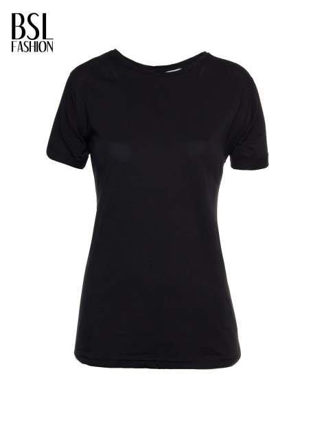 Czarny t-shirt z nadrukiem numerycznym AZZEDINE 40 z tyłu                                  zdj.                                  2