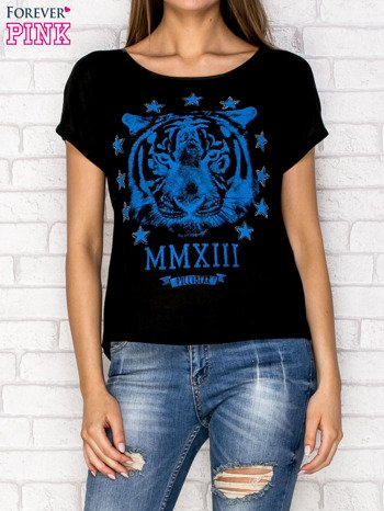 Czarny t-shirt z nadrukiem tygrysa i zipem z tyłu                                  zdj.                                  1