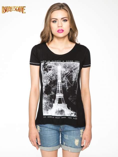 Czarny t-shirt z nadrukiem wieży Eiffla                                  zdj.                                  11