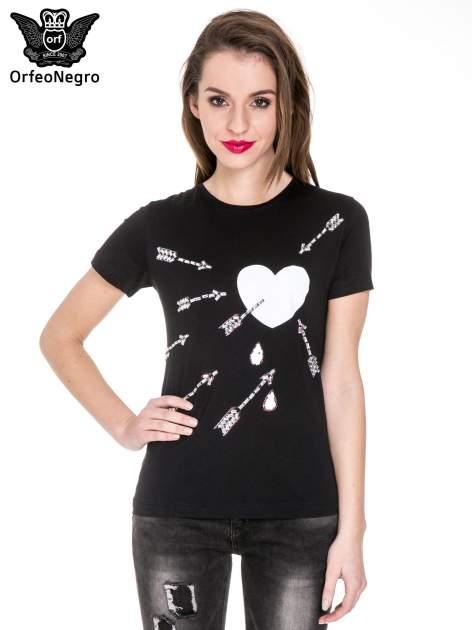 Czarny t-shirt z nadrukiem złamanego serca                                  zdj.                                  1