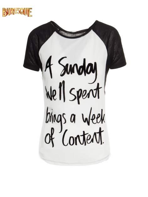 Czarny t-shirt z napisem A SUNDAY                                  zdj.                                  1