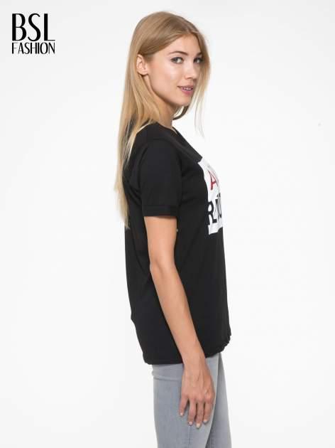 Czarny t-shirt z napisem AMOUR RÉVOLUTION                                  zdj.                                  3