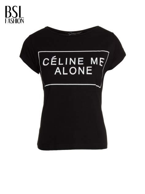 Czarny t-shirt z napisem CÉLINE ME ALONE                                  zdj.                                  2