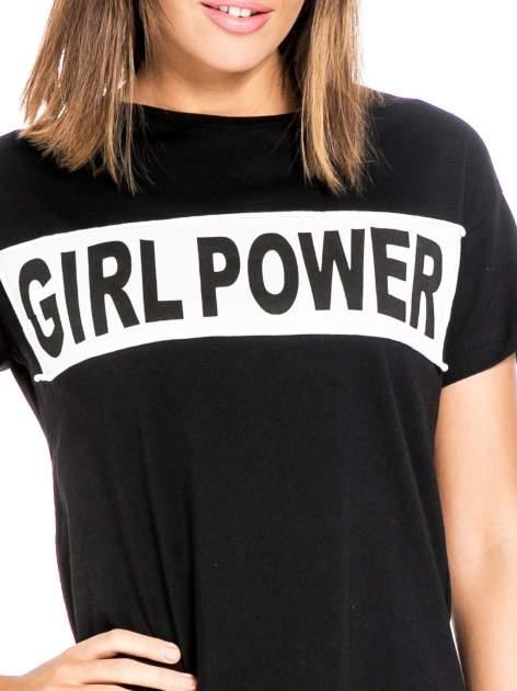 Czarny t-shirt z napisem GIRL POWER                                  zdj.                                  5