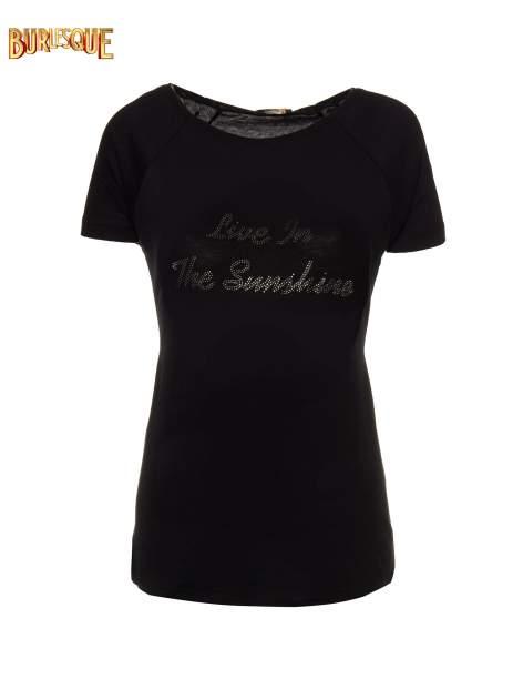 Czarny t-shirt z napisem LIVE IN THE SUNSHINE z dżetów                                  zdj.                                  1