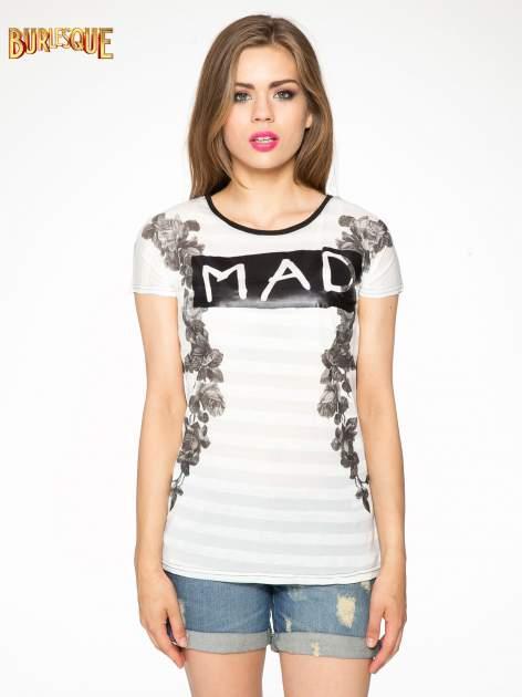 Czarny t-shirt z napisem MAD i kwiatowym nadrukiem                                  zdj.                                  10