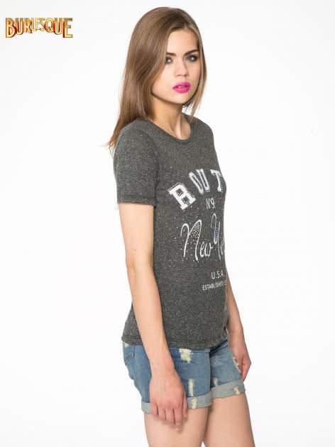 Czarny t-shirt z napisem ROUTE NEW YORK                                  zdj.                                  3