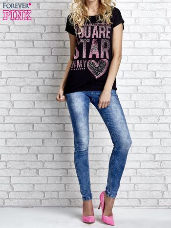 Czarny t-shirt z napisem YOU ARE STAR IN MY HEART z dżetami                                  zdj.                                  2