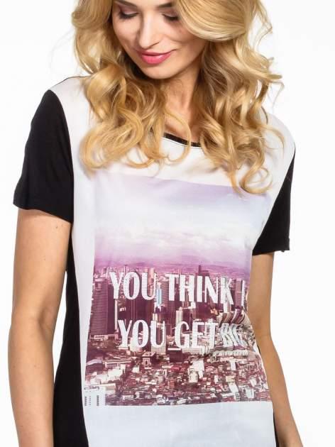 Czarny t-shirt z napisem YOU THINK BIG YOU GET BIG                                  zdj.                                  5