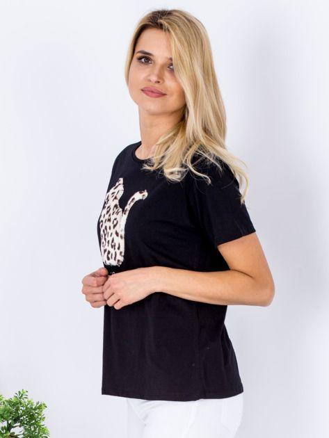 Czarny t-shirt z pluszowym kotem                              zdj.                              5