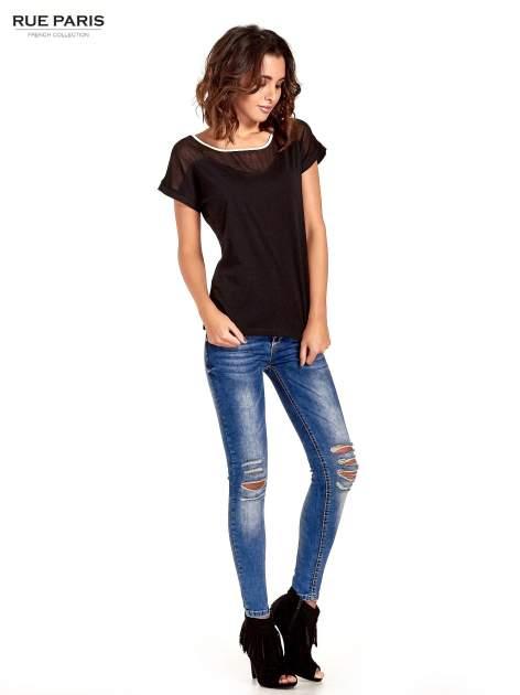 Czarny t-shirt z siateczkową górą i kontrastową lamówką                                  zdj.                                  2