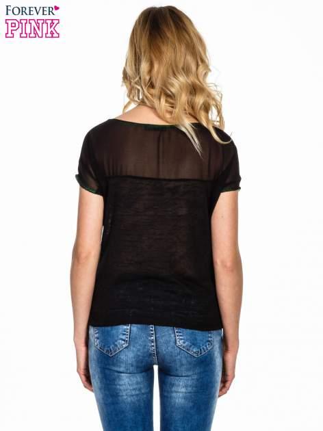 Czarny t-shirt z wiązaniem z boku                                  zdj.                                  4
