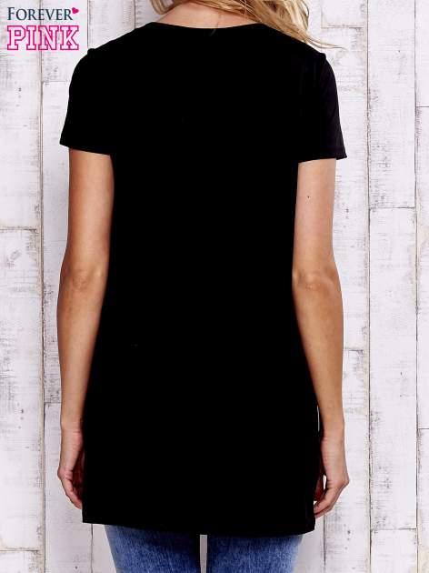 Czarny t-shirt ze sznurowanym dekoltem lace up                                  zdj.                                  4
