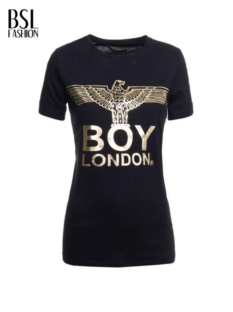 Czarny t-shirt ze złotym nadrukiem orła i napisem BOY LONDON                                  zdj.                                  2