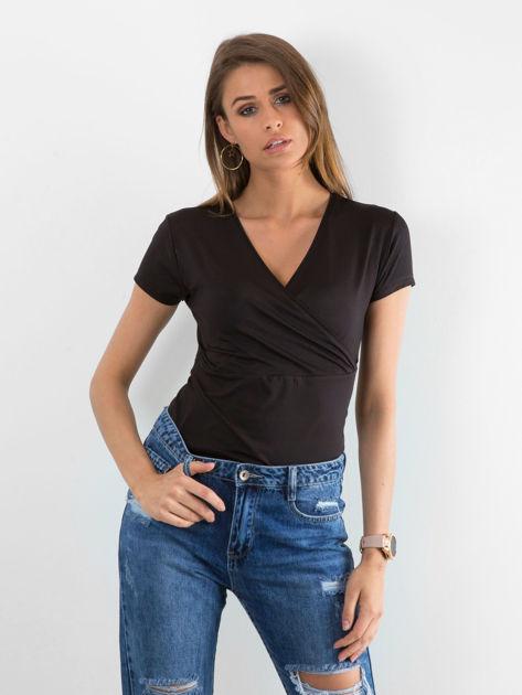 Czarny termoaktywny t-shirt sportowy z kopertowym dekoltem ♦ Performance RUN                                  zdj.                                  4