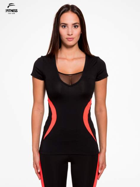 Czarny termoaktywny t-shirt sportowy z siateczką przy dekolcie z fluoróżową wstawką ♦ Performance RUN                                  zdj.                                  1