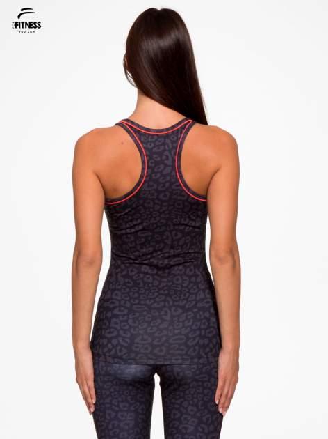 Czarny termoaktywny top sportowy w panterkę z fluoróżową wstawką ♦ Performance RUN                                  zdj.                                  4